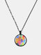 Geometric Round Glass Color Cat Print Women Pendant Necklace Jewelry Gift - Black