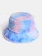 Donna Colorful Cappello secchio in peluche caldo Cappello da secchio elegante selvaggio sfumato esterno - #06