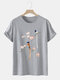 Mens Flower & Bird Print Chinese Style 100% Cotton Short Sleeve T-Shirts - Gray