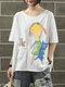 Cartoon Print Short Sleeve Casual Cute Cotton T-Shirt