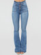 Solid Color Button Casual Demin Jeans For Women - Blue
