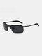 Men Metal Square Half Frame Smart Color-changing Polarized Anti-UV Sunglasses - #01