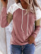 Contrast Color Patchwork Long Sleeve Casual Hoodie For Women - Pink