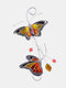 1 PC Alloy Butterfly Stained Suncatcher Glass Window Hangings Ornament Home Garden Decoration Accessories - Yellow