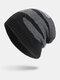 मेन विंटर Plus वेलवेट स्ट्राइप्ड पैटर्न आउटडोर लंबे बुना हुआ गर्म बेनी टोपी - काली