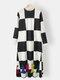 Women Plaid Patchwork O-neck Long Sleeve Casual Print Dress - Black