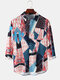 Mens Geometric Ethnic Printed Cotton Loose Casual Long Sleeve Shirts With Pocket - Red