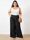 Solid Color Elastic Waist Wide Leg Plus Size Pants with Pockets - Black