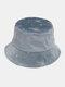 महिलाओं की कढ़ाई तितली पैटर्न प्रिंट आरामदायक Soft आउटडोर यात्रा बाल्टी टोपी - नीला