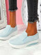 Plus Size Women Casual Breathable Comfy Shake Shoes Elastic Slip-On Platform Sneakers - Light Blue