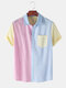 Mens Casual Stitching Contrast Color Short Sleeve Shirts - Pink
