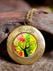 Vintage Glass Printed Women Necklaces Tree Of Life Phase Box Pendant Sweater Chain - #04