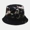 Men Double-Side Tie-dye Cotton Graffiti Ink Painting Sunscreen Street Trend Fisherman Hat Bucket Hat - Black