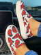 Women Fashion Comfy Butterfly Pattern Casual Slip On Canvas Sneakers - Red