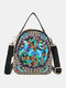 Embroidery Canvas Crossbody Bag Cell phone Pouch Coin Purse for Women - Blue