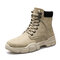 Men Stylish Microfiber Leather Lace Up Casual Ankle Boots - Khaki