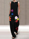 Flowers Print Sleeveless Plus Size Jumpsuit with Pockets - Black