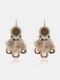 Bohemia Flower Women Earrings Long Feather Pendant Earrings Jewelry Gift - Gold