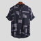 Mens Abstract Printed Turn Down Collar Manga curta Loose Casual Henley Shirts