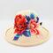 Retro Embroidery Big Brim Hat Half-top Hollow Breathable Ladies Beach Hat Folding Hat - #01