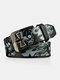 Men PU 110CM Skull Pattern Fashion Cool Pin Buckle Pants Belt - Black