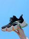 Women Casual Lace-up Mesh Breathable Running Shoes Color-soled Chunky Sneakers - Black