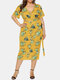 Bohemian Tropical Leaf Print Knotted Deep V Plus Size Suit - Yellow