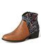 LOSTISY Retro Flower Cloth Stitching Comfy Wearable Side Zipper Block Heel Ankle Boots - Brown
