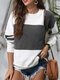 Striped O-neck Overhead Knitted Sweater For Women - Dark Grey