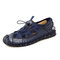 Men Large Size Lace-up Closed Toe Hand Stitching Outdoor Sandals - Blue