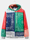 Mens Ethnic Print Color Bloc Patchwork Loose Hoodies With Kangaroo Pocket - Multi-color