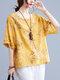 Butterfly Flower Print Plus Size Cotton Linen T-shirt - Yellow
