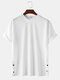 Mens Solid Color Side Snap Button Design Loose Cotton Short Sleeve T-Shirts - White