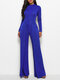 Solid Color Patchwork Long Sleeve Casual Jumpsuit for Women - Royal blue
