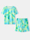 Tie Dye O-neck Short Sleeve Plus Size Casual T-shirt Suit - Green