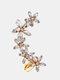 1 Pc Vintage Butterfly Flowers Women Earrings Temperament Full Diamonds Crystal Ear Clips Ear Stud - #07