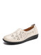 Solid Comfortable Hollow-out Single Shoes Floral Flats For Women - Beige(Hollow-out)