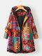 Ethnic Print High Low Hem Plus Size Hooded Jackets with Pockets - Orange