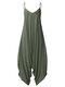 Solid Color Strap V-neck Plus Size Loose Jumpsuit for Women - Green