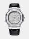 Alloy PU Leather Belt Business Calendar Quartz Watch - White