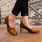 Women's Large Size Retro Elegant Stitching Chunky Heel Loafers Shoes - Brown