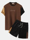 Plus Size Mens Letter Knitted Stitching Drawstring T-Shirt & Shorts Casual Co-ords - Brown