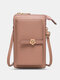 Casual Precision Suture 9 Cards Slots 6.8 Inch Phone Bag Touch Screen Simple Long Crossbody Bag - Pink