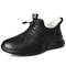 Men Cow Leather Winter Warm Hiking Fur Lining Suede Outdoor Sneakers - Black