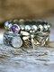 3 Pcs Vintage Dragonfly Gemstone Alloy Rings - #01