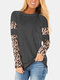 Leopard Printed Long Sleeve O-neck T-shirt For Women - Gray