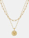 Luxury Layering Paperclip Chain Women Necklace 26 Initials Coin Pendant 14K Gold Plated Necklace Clavicle Chain - V