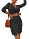 Solid Color V-neck Long Sleeve Casual Dress With Belt - Black