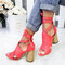 Large Size Women Casual Solid Color Peep Toe Lace Up High Heel Sandals - Red