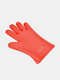 1 PC Heat-insulating Anti-scalding Gloves Heart-shaped Anti-skid Food Grade Silicone Thickened Anti-cutting Kitchen Microwave Tools - Red